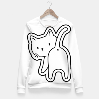Miniaturka Cat's back White Sticker Fitted Sweatshirt, Live Heroes