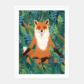 Thumbnail image of Fox Yoga Framed poster - White , Live Heroes
