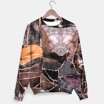 Miniatur Leather Patchwork Print Design Sweater, Live Heroes
