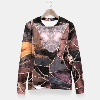 Miniatur Leather Patchwork Print Design Fitted Waist Sweater, Live Heroes