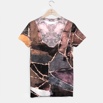 Miniatur Leather Patchwork Print Design T-shirt, Live Heroes