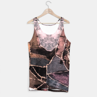 Miniatur Leather Patchwork Print Design Tank Top, Live Heroes