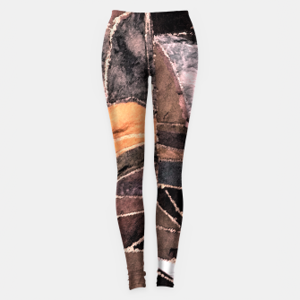 Miniatur Leather Patchwork Print Design Leggings, Live Heroes