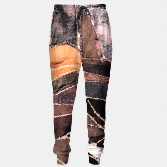 Miniatur Leather Patchwork Print Design Sweatpants, Live Heroes