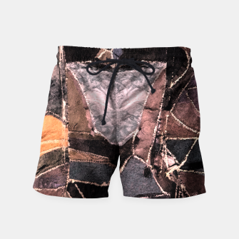 Miniatur Leather Patchwork Print Design Swim Shorts, Live Heroes