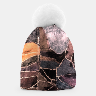 Miniatur Leather Patchwork Print Design Beanie, Live Heroes