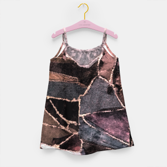 Miniatur Leather Patchwork Print Design Girl's Dress, Live Heroes