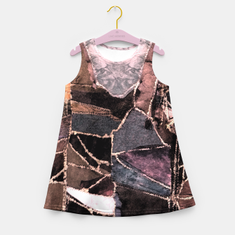 Miniatur Leather Patchwork Print Design Girl's Summer Dress, Live Heroes