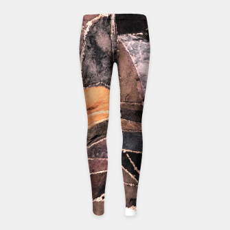 Miniatur Leather Patchwork Print Design Girl's Leggings, Live Heroes