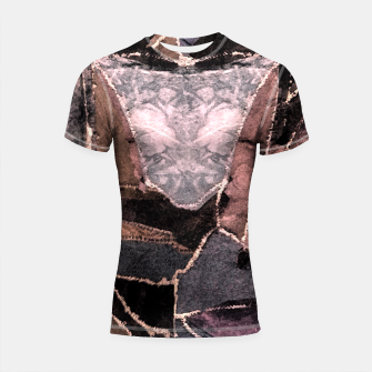 Miniatur Leather Patchwork Print Design Shortsleeve Rashguard, Live Heroes