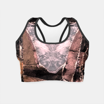 Miniatur Leather Patchwork Print Design Crop Top, Live Heroes