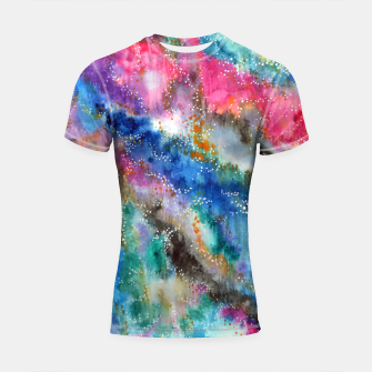 Miniaturka Galaxy colours #abstract #art #buyart Shortsleeve Rashguard, Live Heroes