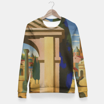 Thumbnail image of Vintage Rome Travel Poster Fitted Waist Sweater, Live Heroes