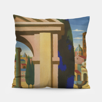 Thumbnail image of Vintage Rome Travel Poster Pillow, Live Heroes