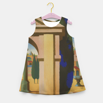 Thumbnail image of Vintage Rome Travel Poster Girl's Summer Dress, Live Heroes