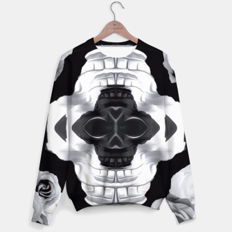 Thumbnail image of funny skull portrait with roses in black and white Sweater, Live Heroes