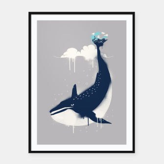 Blue Whale and Surfer Framed poster obraz miniatury