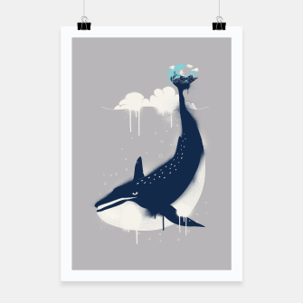 Blue Whale and Surfer Poster obraz miniatury