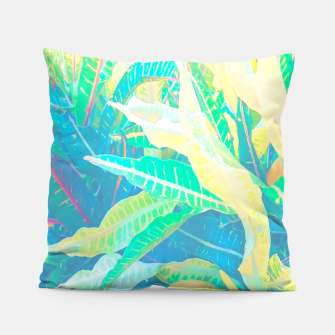 Thumbnail image of tropical croton leaves 3 Pillow, Live Heroes
