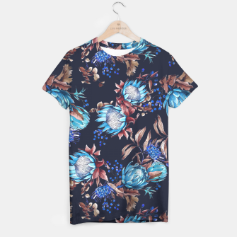 Thumbnail image of King protea flowers watercolor illustration T-shirt, Live Heroes
