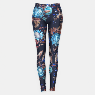 Thumbnail image of King protea flowers watercolor illustration Leggings, Live Heroes