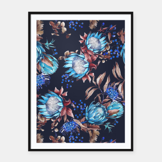 Thumbnail image of King protea flowers watercolor illustration Framed poster, Live Heroes