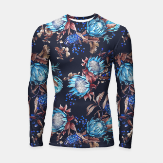 Thumbnail image of King protea flowers watercolor illustration Longsleeve Rashguard , Live Heroes