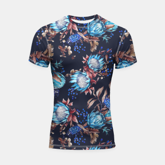 Thumbnail image of King protea flowers watercolor illustration Shortsleeve Rashguard, Live Heroes