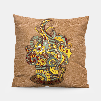 Thumbnail image of I love coffee Doodle Art Pillow, Live Heroes