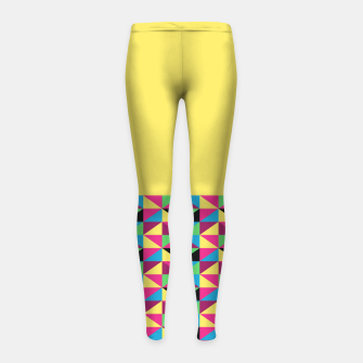 Miniaturka Funky Triangles on Yellow Girl's Leggings, Live Heroes