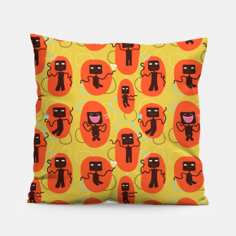 Thumbnail image of Happy robots Pillow, Live Heroes
