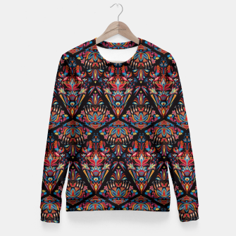 Miniatur Floral pattern. Geometric pattern - Bright colorful tradition  Fitted Waist Sweater, Live Heroes