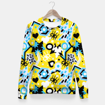Miniatur Pop art bright abstract funky design Fitted Waist Sweater, Live Heroes