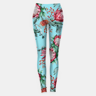 King protea flowers watercolor illustration Leggings thumbnail image