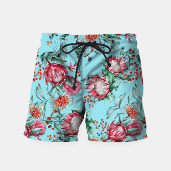 King protea flowers watercolor illustration Swim Shorts thumbnail image
