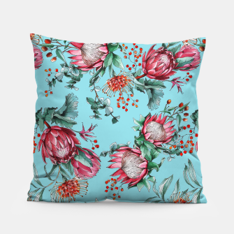 King protea flowers watercolor illustration Pillow thumbnail image
