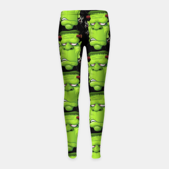 Thumbnail image of Frankenstein Ugly Portrait and Spiders Girl's Leggings, Live Heroes