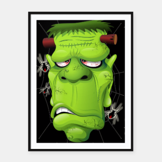 Thumbnail image of Frankenstein Ugly Portrait and Spiders Framed poster, Live Heroes
