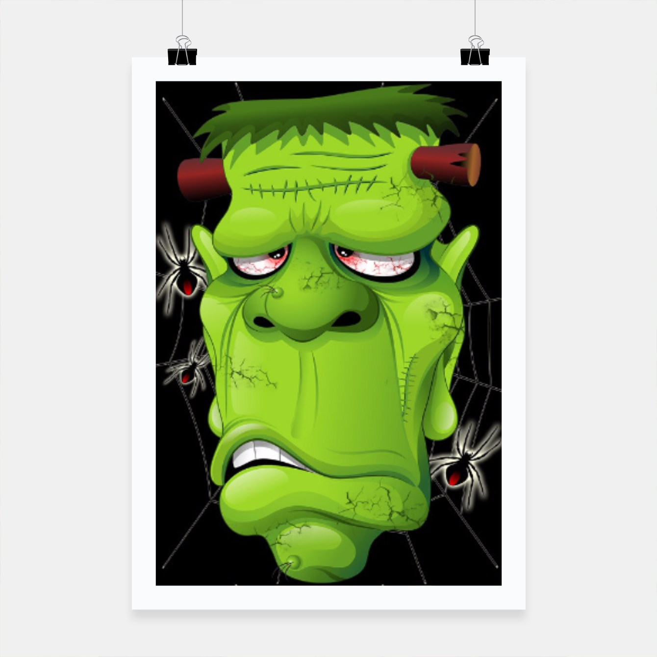 Image of Frankenstein Ugly Portrait and Spiders Poster - Live Heroes