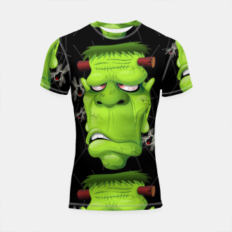 Thumbnail image of Frankenstein Ugly Portrait and Spiders Shortsleeve Rashguard, Live Heroes