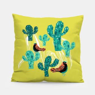Miniature de image de cactus and birds Pillow, Live Heroes