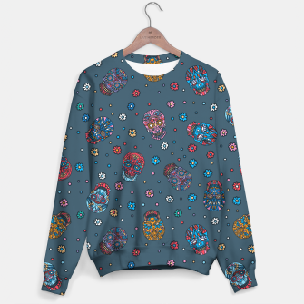 Thumbnail image of Floral skull mexican pattern Sweater, Live Heroes