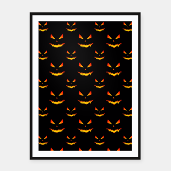 Thumbnail image of Cool and scary Jack O'Lantern face Halloween pattern Framed poster, Live Heroes