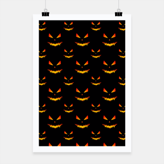 Thumbnail image of Cool and scary Jack O'Lantern face Halloween pattern Poster, Live Heroes