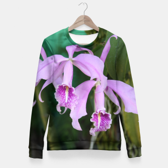 Thumbnail image of Tropical Flowers Orchids Fitted Waist Sweater, Live Heroes