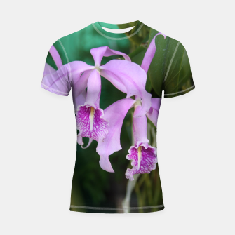 Thumbnail image of Tropical Flowers Orchids Shortsleeve Rashguard, Live Heroes