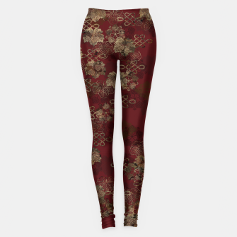 Thumbnail image of Japanese traditional Kamon decoration like kimono red gold Leggings, Live Heroes