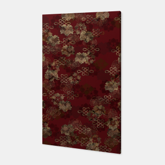 Thumbnail image of Japanese traditional Kamon decoration like kimono red gold Canvas, Live Heroes