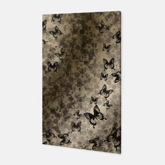 Thumbnail image of elegant black butterfly with Japanese traditional Kamon decoration like kimono Canvas, Live Heroes