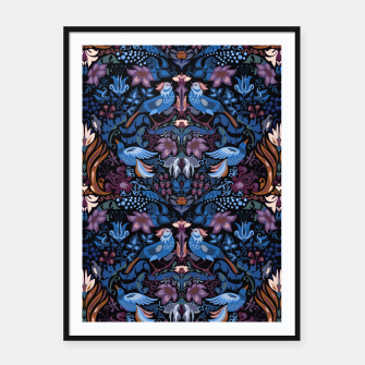 Thumbnail image of Floral pattern. Vintage pattern. Luxury garden blue bird lux pattern  Framed poster, Live Heroes